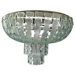 Italian Midcentury Chandelier by Zero Quattro of Cut Glass, 1960s
