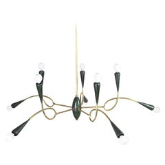 Italian Midcentury Chandelier in Brass and Aluminum from 1950s