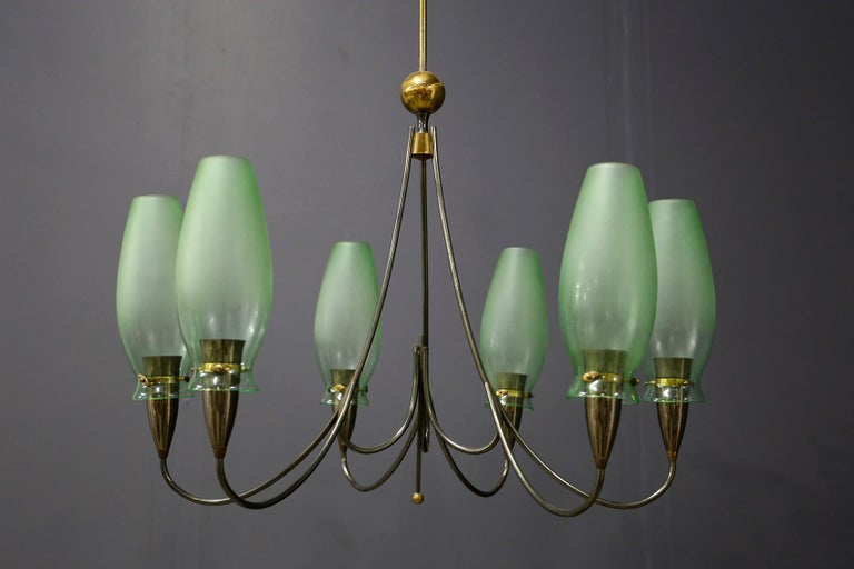 Mid-Century Modern Italian Midcentury Chandelier in Brass and Murano Glass, 1950s For Sale