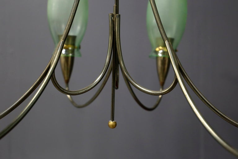 Italian Midcentury Chandelier in Brass and Murano Glass, 1950s In Good Condition For Sale In Milano, IT