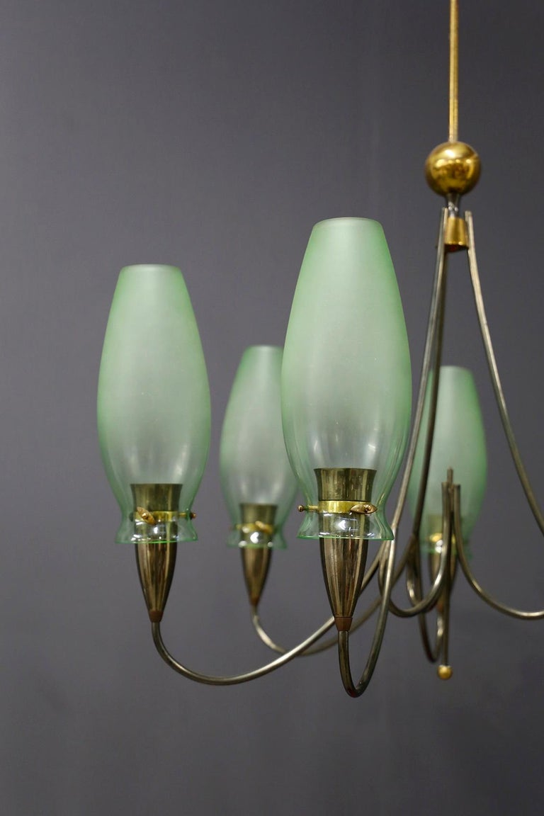 Mid-20th Century Italian Midcentury Chandelier in Brass and Murano Glass, 1950s For Sale