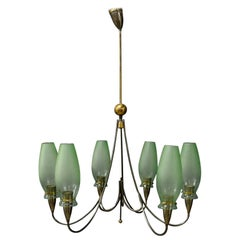Italian Midcentury Chandelier in Brass and Murano Glass, 1950s
