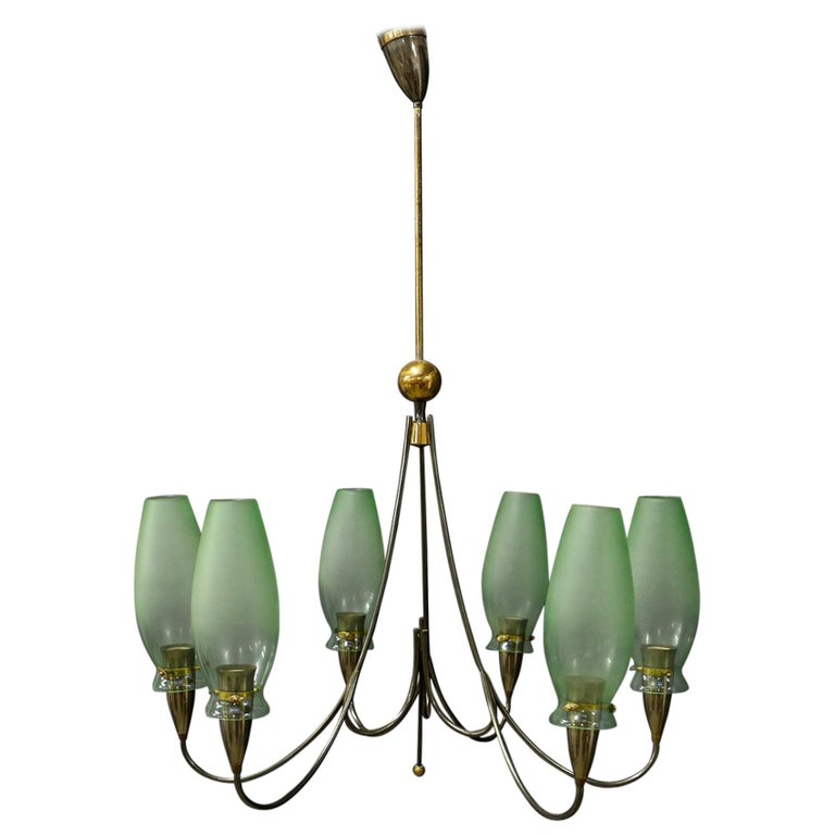 Italian Midcentury Chandelier in Brass and Murano Glass, 1950s For Sale