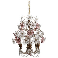 Italian Midcentury Chandelier with Murano Glass Flowers, 1960s