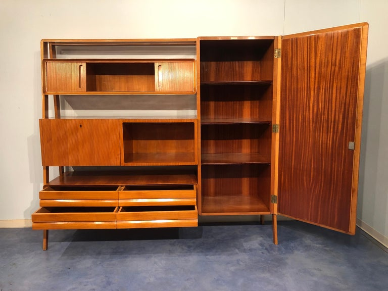 Italian Midcentury Cherrywood Sideboard Bookcase by La Permanente Cantù, 1950s For Sale 5