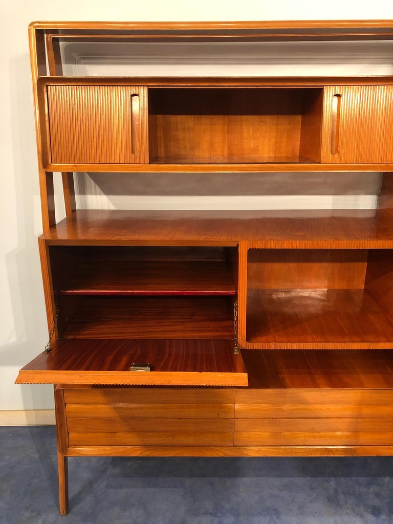 Italian Midcentury Cherrywood Sideboard Bookcase by La Permanente Cantù, 1950s For Sale 6