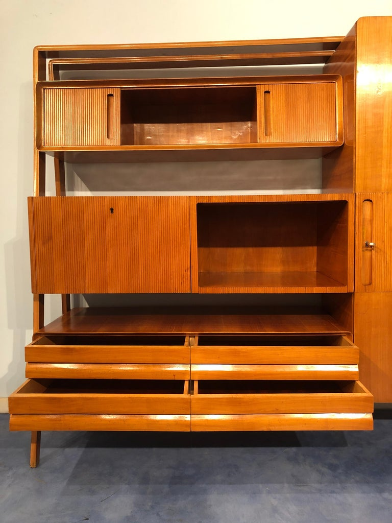 Italian Midcentury Cherrywood Sideboard Bookcase by La Permanente Cantù, 1950s For Sale 8