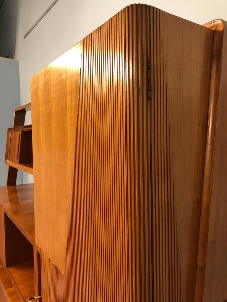 Italian Midcentury Cherrywood Sideboard Bookcase by La Permanente Cantù, 1950s For Sale 9