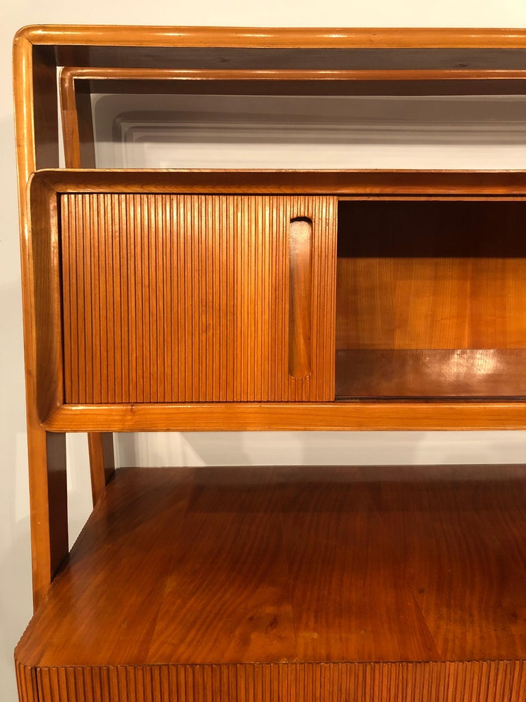 Italian Midcentury Cherrywood Sideboard Bookcase by La Permanente Cantù, 1950s For Sale 10