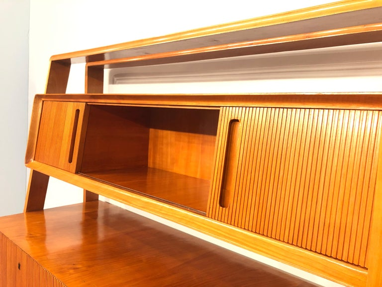 Italian Midcentury Cherrywood Sideboard Bookcase by La Permanente Cantù, 1950s For Sale 11