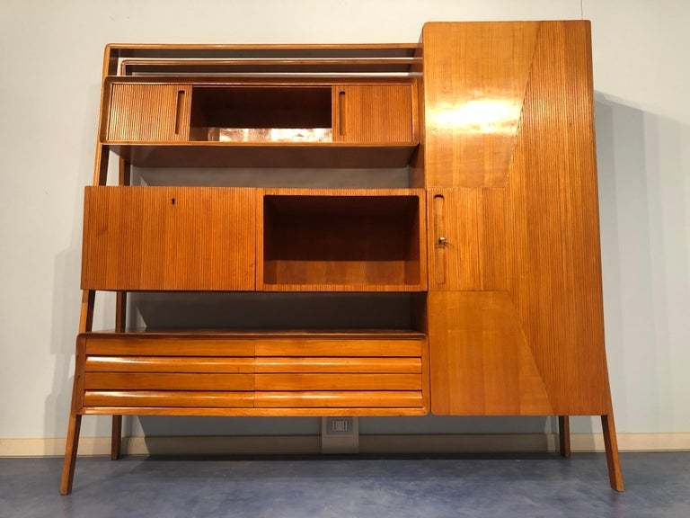 Mid-Century Modern Italian Midcentury Cherrywood Sideboard Bookcase by La Permanente Cantù, 1950s For Sale