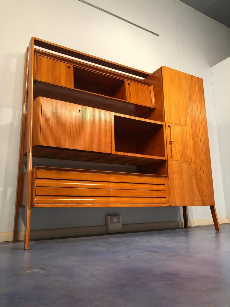 Mid-20th Century Italian Midcentury Cherrywood Sideboard Bookcase by La Permanente Cantù, 1950s For Sale