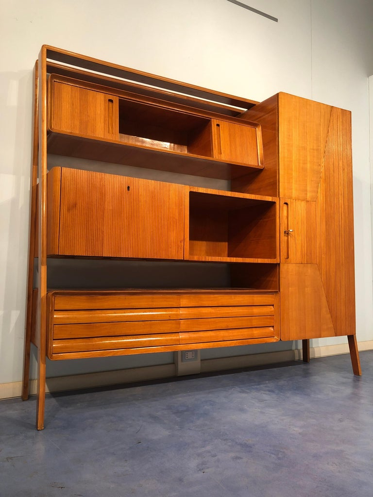 Italian Midcentury Cherrywood Sideboard Bookcase by La Permanente Cantù, 1950s For Sale 1