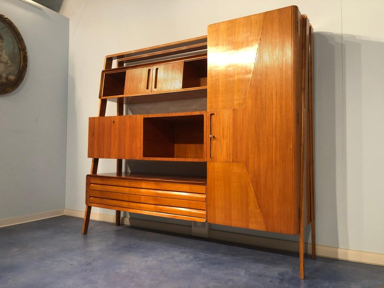 Italian Midcentury Cherrywood Sideboard Bookcase by La Permanente Cantù, 1950s For Sale 2