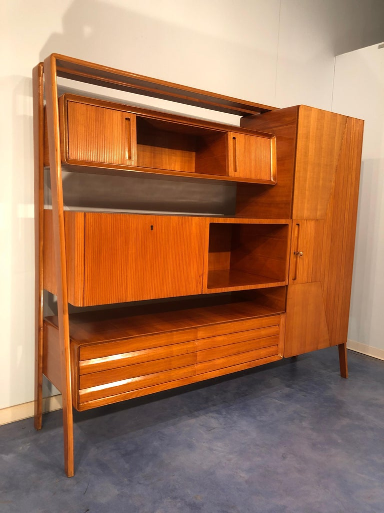 Italian Midcentury Cherrywood Sideboard Bookcase by La Permanente Cantù, 1950s For Sale 3