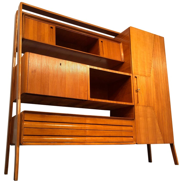 Italian Midcentury Cherrywood Sideboard Bookcase by La Permanente Cantù, 1950s For Sale