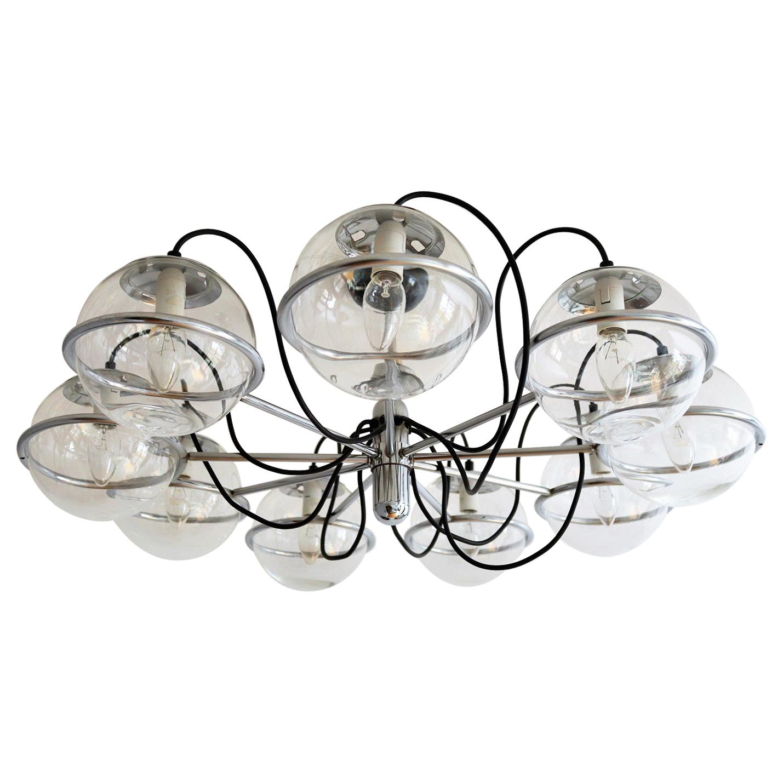 Italian Midcentury Chrome Chandelier with Nine-Glass Globes, 1960s