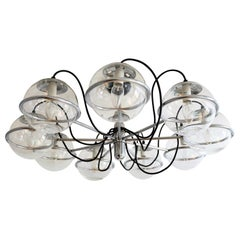 Italian Midcentury Chrome Chandelier with Nine-Glass Globes, 1960s