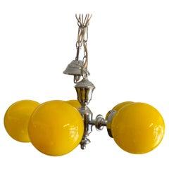Italian Mid Century Chrome Finish Yellow Pendant Hanging Light/Chandelier