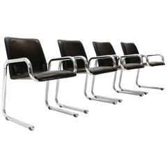 Italian Midcentury Chromed Chair, 1960s, Set of 4