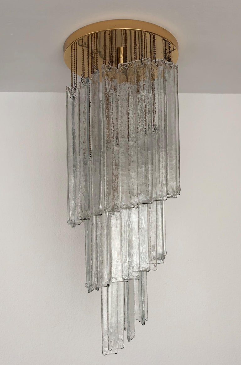 Late 20th Century Italian Midcentury Clear Murano Glass Chandelier by Mazzega, 1970s For Sale