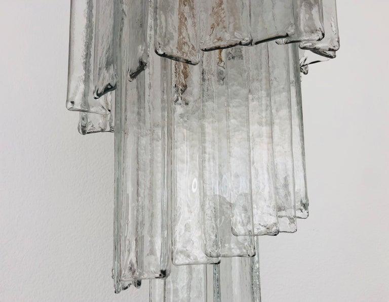 Brass Italian Midcentury Clear Murano Glass Chandelier by Mazzega, 1970s For Sale
