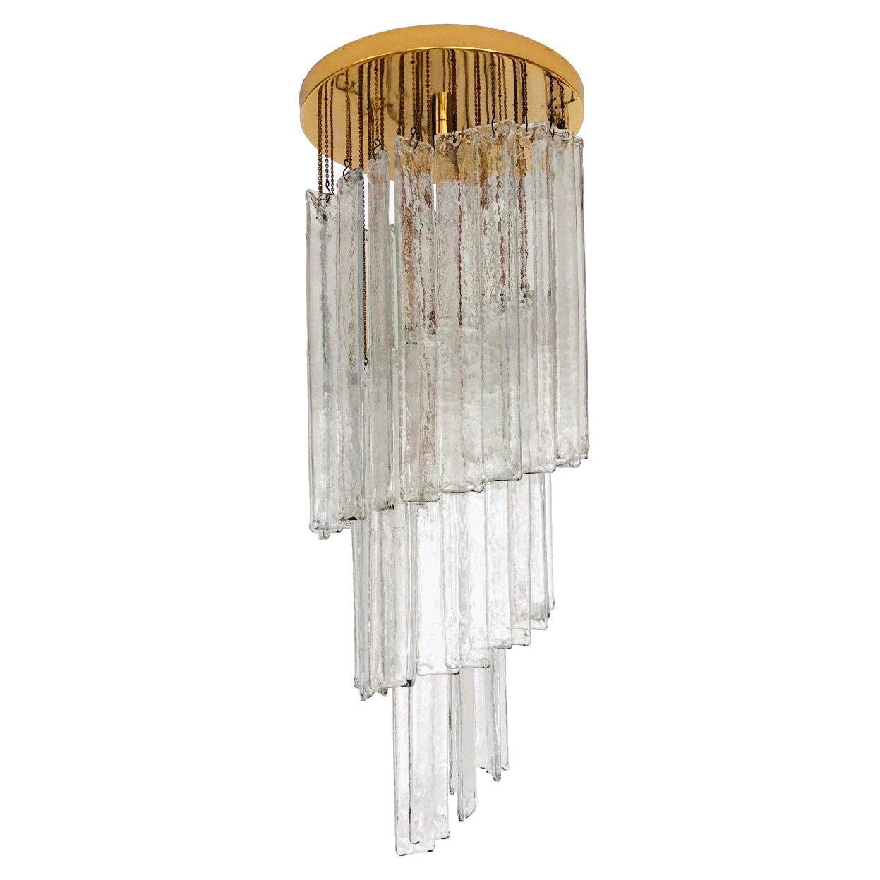 Italian Midcentury Clear Murano Glass Chandelier by Mazzega, 1970s