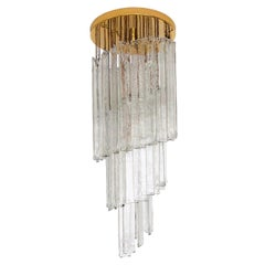 Italian Midcentury Clear Murano Glass Chandelier by Mazzega, 1970s