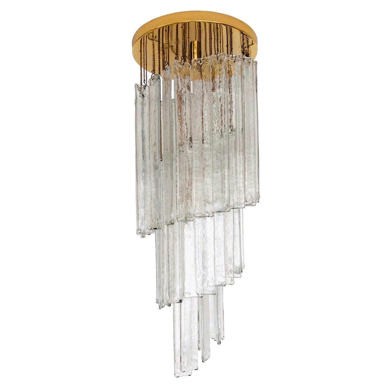 Italian Midcentury Clear Murano Glass Chandelier by Mazzega, 1970s For Sale