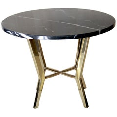 1970s vintage Coffee Table with Black Marquinia Marble Top and Brass Base