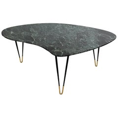 Italian Midcentury Coffee Table with Green Alps Marble Top and Brass Feet, 1950s