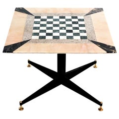 Italian Midcentury Coffee Table with Marble Mosaic and Brass Tips, 1950s