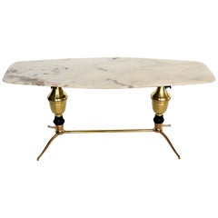 Italian Midcentury Coffee Table with Marble Top and Brass Feet, 1950s