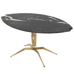 Italian Midcentury Coffee Table with Notched Oval Black Marble Top Brass Base