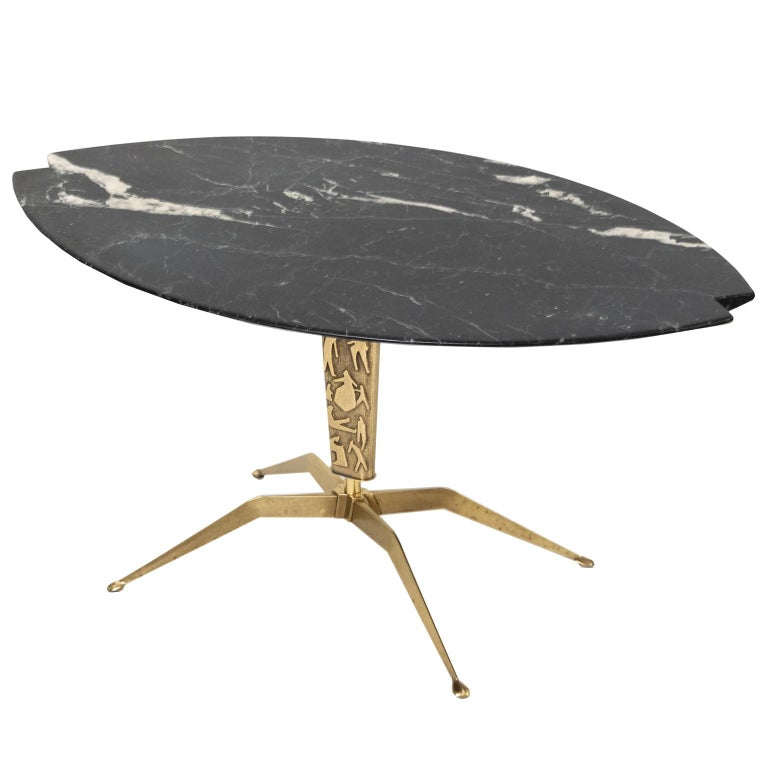 Marble Top Brass Coffee Table.Italian Midcentury Coffee Table With Notched Oval Black Marble Top Brass Base