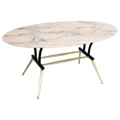 Italian Midcentury Coffee Table with Pink and Grey Marble and Brass Feet, 1950s