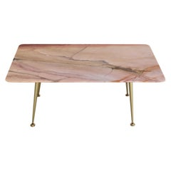 Italian Midcentury Coffee Table with Pink Marble Top and Brass Tips, 1950s
