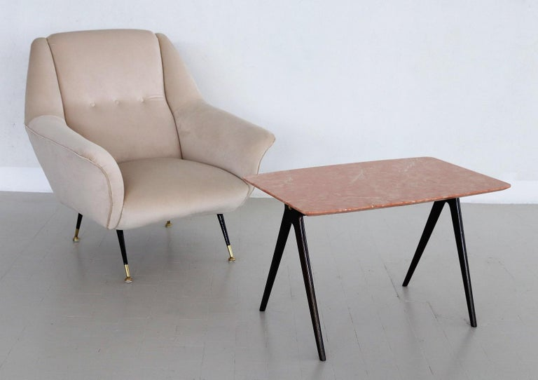 Mid-Century Modern Italian Midcentury Coffee Table with Pink Marble Top and Wooden Legs, 1950s For Sale