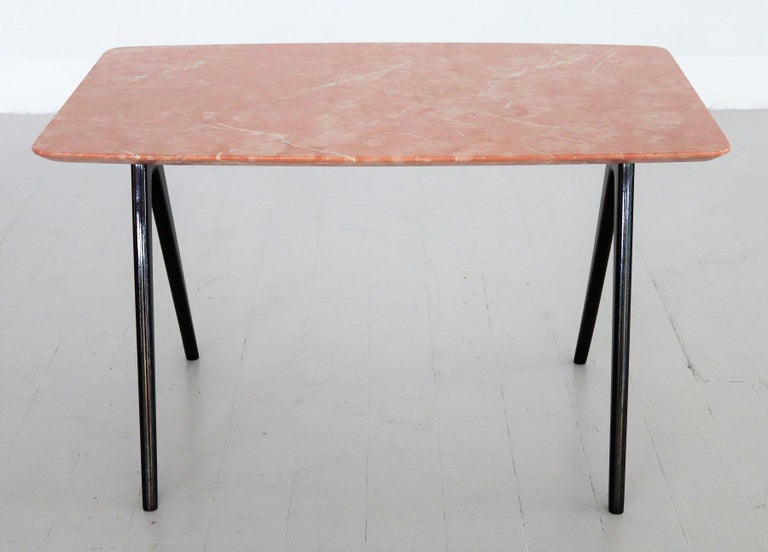 Mid-20th Century Italian Midcentury Coffee Table with Pink Marble Top and Wooden Legs, 1950s For Sale