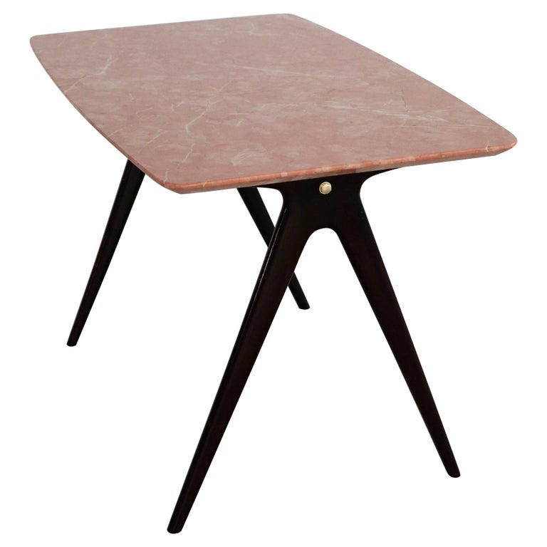 Italian Midcentury Coffee Table with Pink Marble Top and Wooden Legs, 1950s For Sale