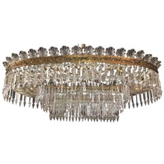 Italian Midcentury Crystal and Brass Oval Structure Chandelier