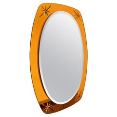 Italian Midcentury Crystal Glass Wall Mirror in Golden Yellow Color, 1960s
