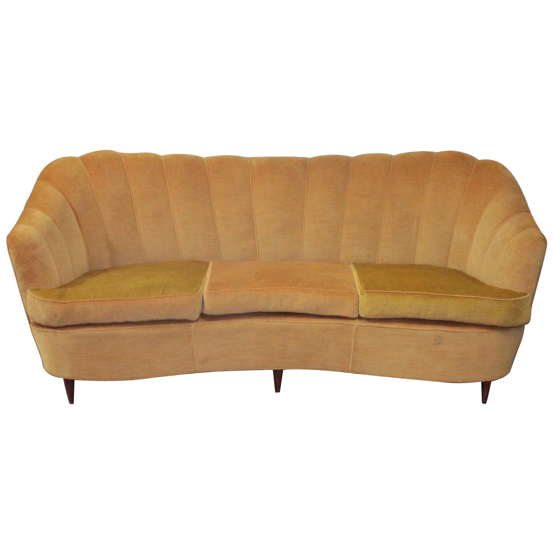Italian Midcentury Curved Sofa Casa e Giardino Design Gio Ponti