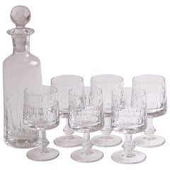 Italian Midcentury Cut Crystal Decanter and Glasses