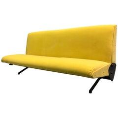 Italian Midcentury D-70 Sofa / Bed by Osvaldo Borsani & Tecno, New Upholstery