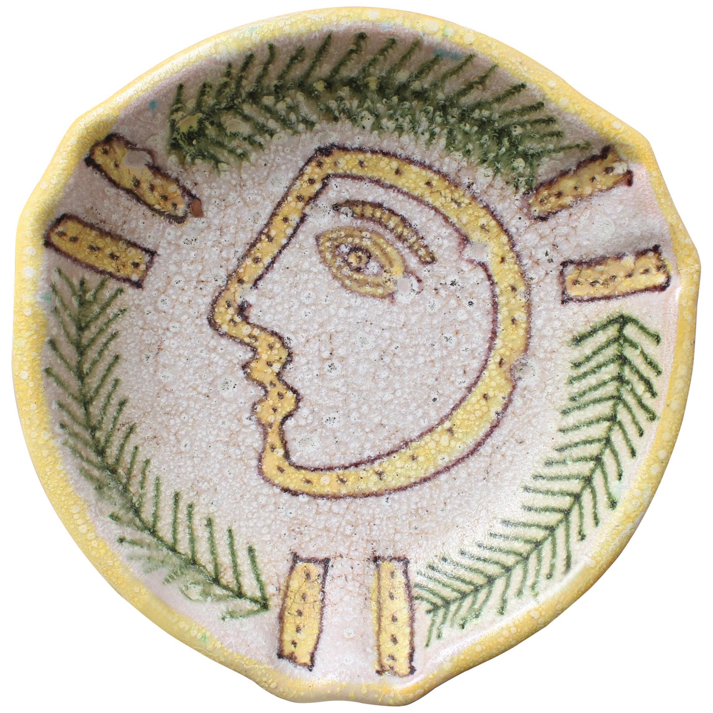 Italian Midcentury Decorative Ceramic Bowl by Guido Gambone, circa 1950s