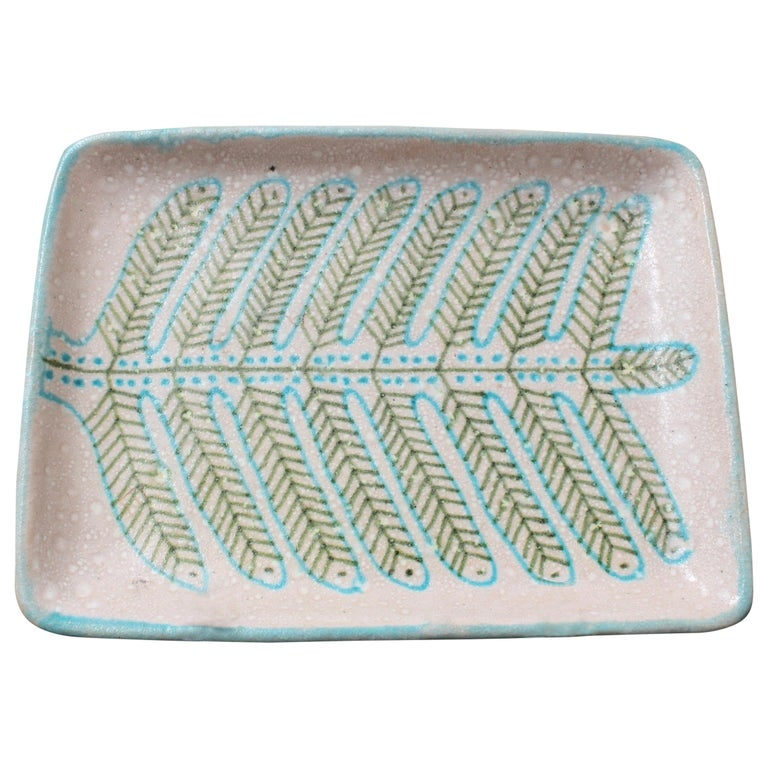 Italian Midcentury Decorative Ceramic Tray by Guido Gambone 'circa 1950s' For Sale
