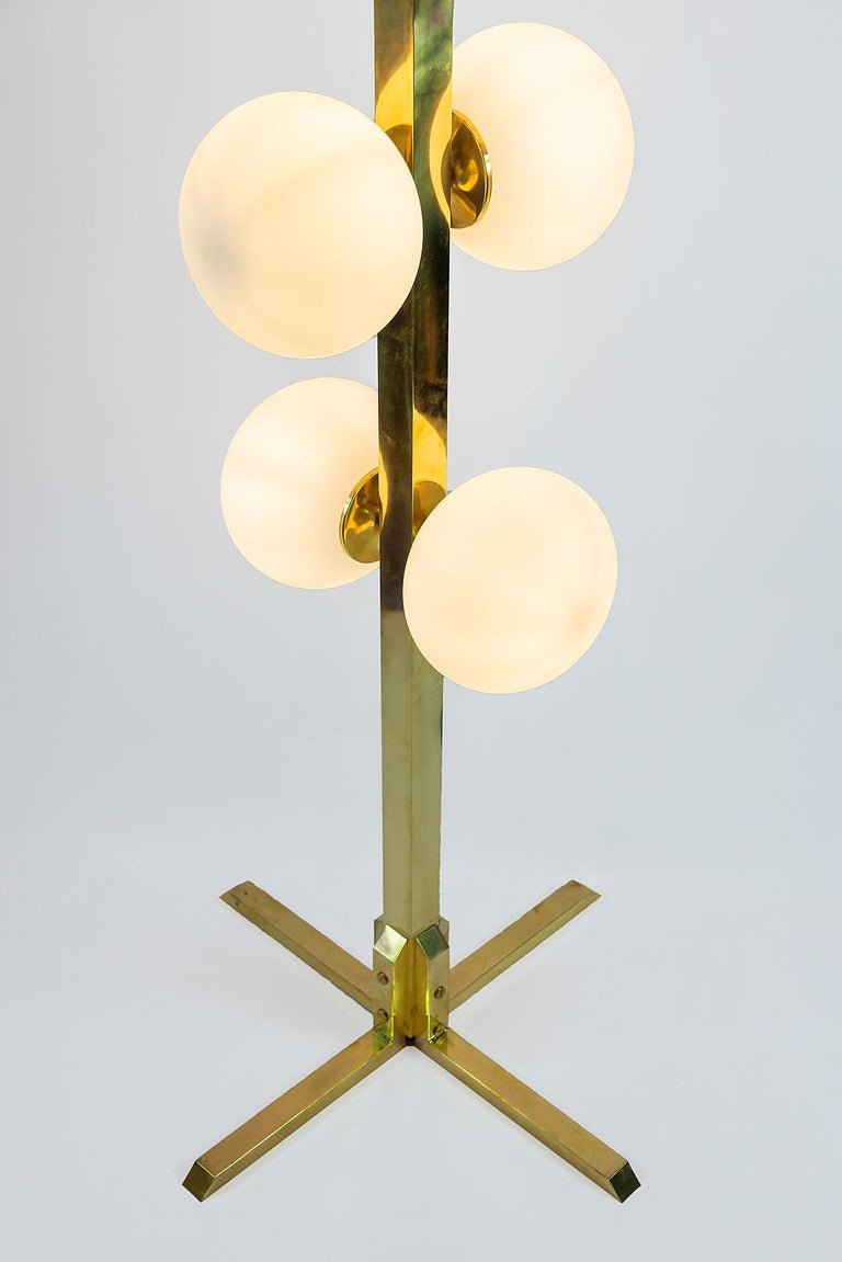 Mid-Century Modern Italian Midcentury Design Brass and Glass Floor Lamp For Sale