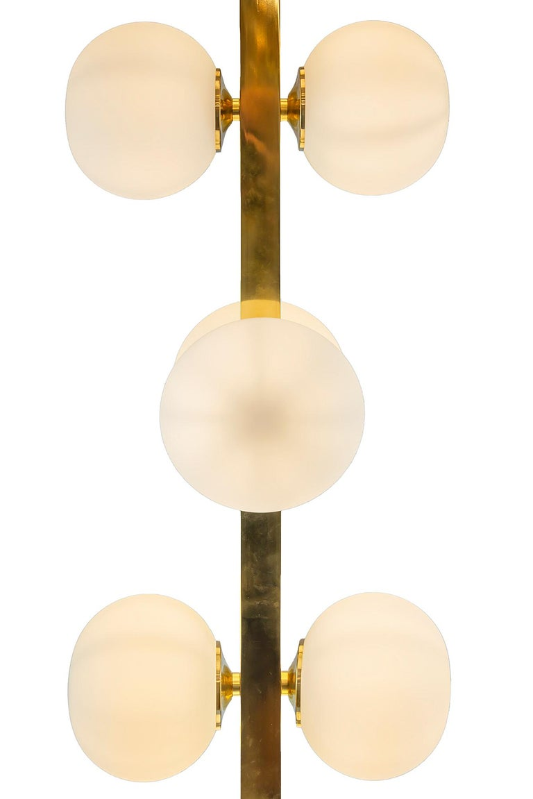 Contemporary Italian Midcentury Design Brass and Glass Floor Lamp For Sale