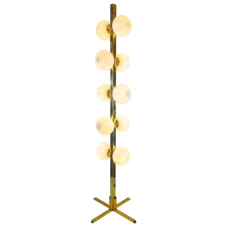 Italian Midcentury Design Brass and Glass Floor Lamp For Sale